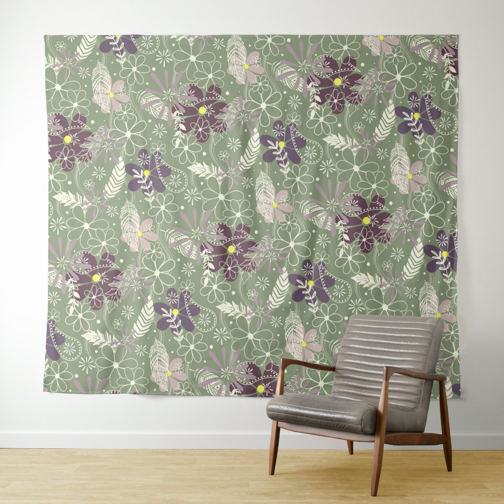 sage purple plum lilac feathers flowers pattern tapestry