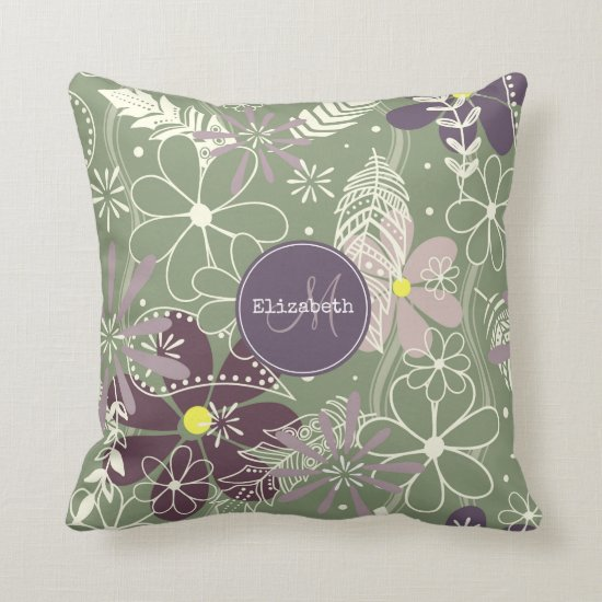 sage purple plum lilac feathers flowers pattern throw pillow