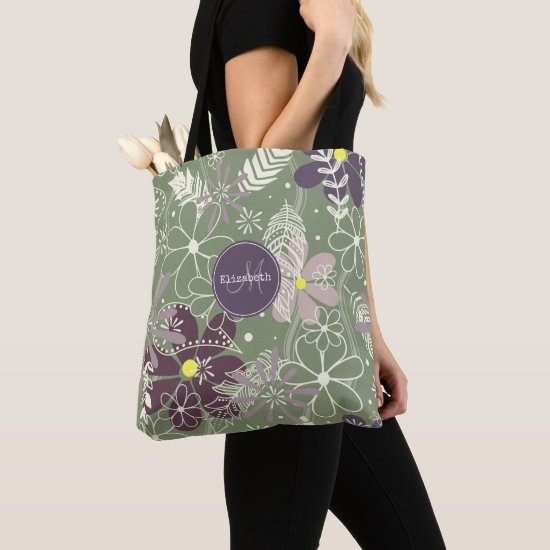 sage purple plum lilac feathers flowers pattern tote bag
