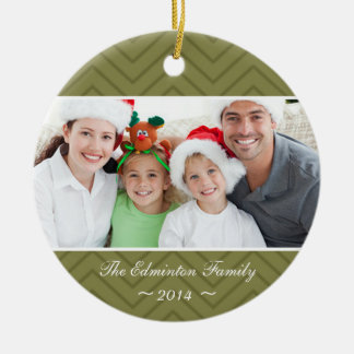 Sage Round Family Custom Photo Christmas Ornament