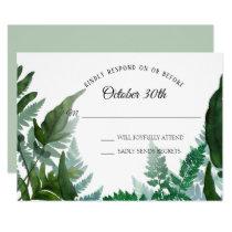 Sage RSVP Wedding Ferns Forest Foliage Leaf Leaves Invitation