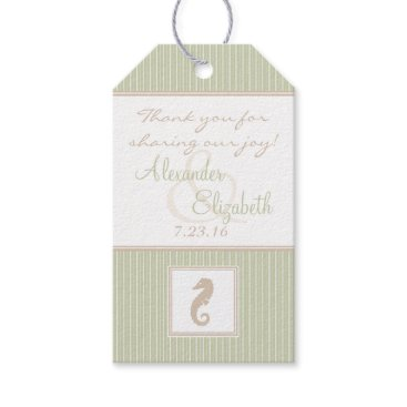 Beach Themed Sage Seahorse Wedding Guest Favor Thank You- Gift Tags
