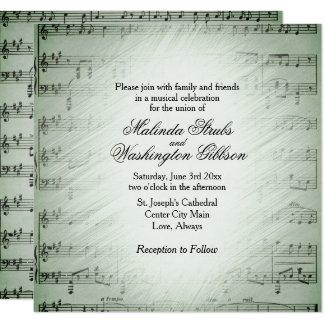 Sage Sheet Music Wedding Theme Invitation