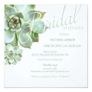Sage Succulent Garden Bridal Shower Card