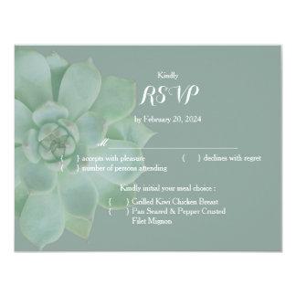 Sage Succulent Garden Wedding RSVP Card