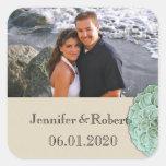 Sage Succulent Wedding Favor Sticker
