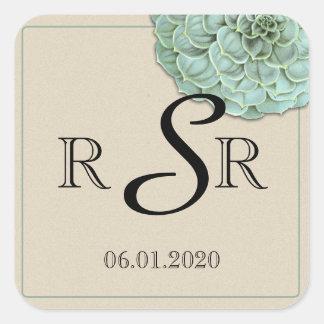 Sage Succulent Wedding Monogram Square Sticker