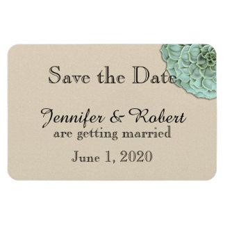 Sage Succulent Wedding Save the Date Rectangular Magnet