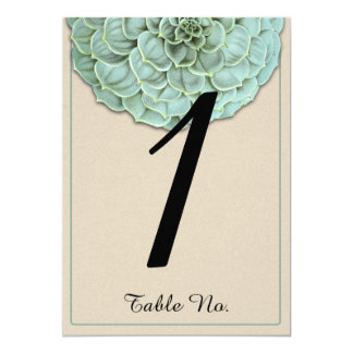 Sage Succulent Wedding Table Number Card