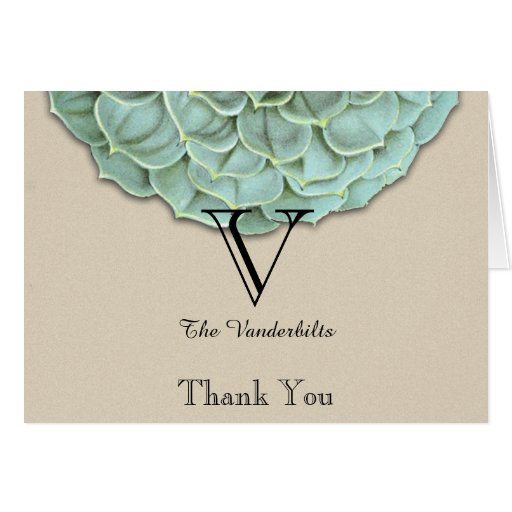 Sage Succulent Wedding Thank You Greeting Card