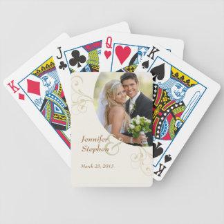 Sage Swirls Wedding Photo Playing Cards