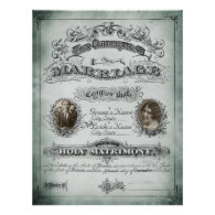 Sage Tone Vintage Marriage Certificate Posters