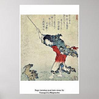 Sage turning goat into stone by Yanagawa,Shigenobu Poster