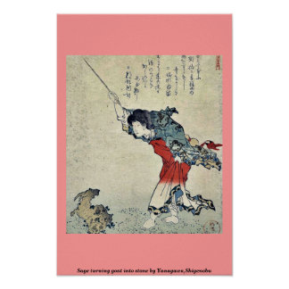 Sage turning goat into stone by Yanagawa,Shigenobu Posters