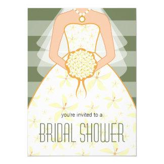 Sage Wedding Dress Modern Bridal Shower Invitation