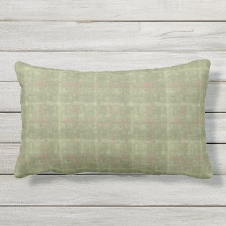 Sage with Coral Fleck Check Outdoor Lumbar Pillow