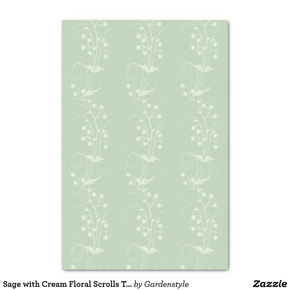 Sage with Cream Floral Scrolls Tissue Paper