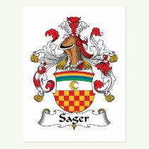 Sager Family Crest Postcard