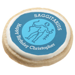 Saggitarius Zodiac sign personalized birthday Round Shortbread Cookie