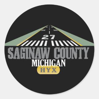 Saginaw County - Airport Runway Classic Round Sticker