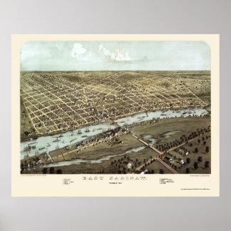 Saginaw del este, mapa panorámico del MI - 1867 Impresiones