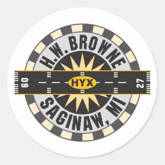 Saginaw , MI H.W. Browne Airport Classic Round Sticker