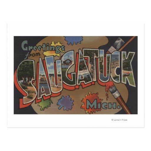 Saginaw, Michigan - escenas grandes de la letra Tarjeta Postal