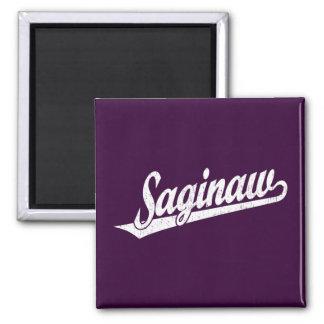 Saginaw script logo in white distressed 2 inch square magnet