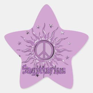 Sagitario de Sun de la paz Pegatina En Forma De Estrella