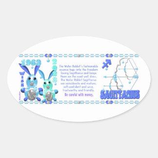 Sagitario llevado conejo 1963 del agua del zodiaco pegatina oval personalizadas
