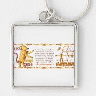 Sagitario llevado tigre de madera 1974 del zodiaco llavero cuadrado plateado