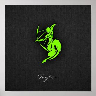 Sagitario verde chartreuse de neón impresiones