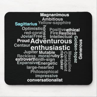Sagitarrius personality traits word cloud gifts mouse pad