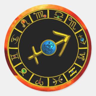 SAGITTARIUS AND GOLD ZODIAC BIRTHDAY SIGNS CIRCLE CLASSIC ROUND STICKER
