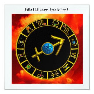 SAGITTARIUS AND ZODIAC BIRTHDAY SIGNS Orange Black Card
