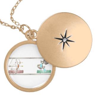 Sagittarius Aquarius friendship Round Locket Necklace