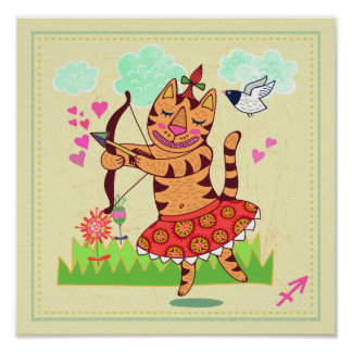 Sagittarius Archer Cat Zodiac Nursery Print