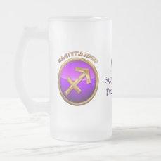 Sagittarius Astrological Sign Frosted Glass Beer Mug