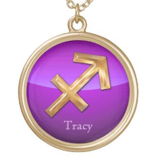 Sagittarius Astrological Sign Round Pendant Necklace