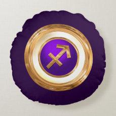 Sagittarius Astrological Sign Round Pillow