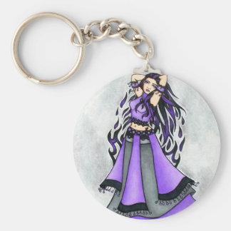 Sagittarius Belly Dancer Purple Keychain