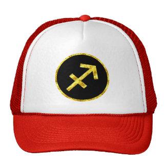 sagittarius-black-gold-crest-hat trucker hat