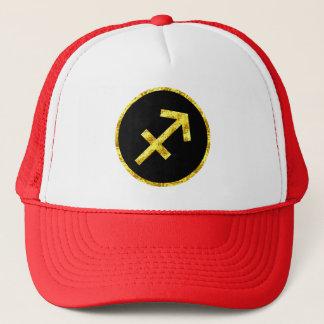 Sagittarius Black Gold Crest Trucker Hat