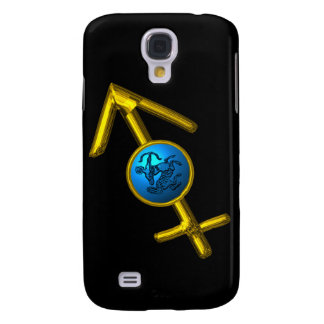 SAGITTARIUS, Blue Turquase and Gold ,Black Samsung Galaxy S4 Covers