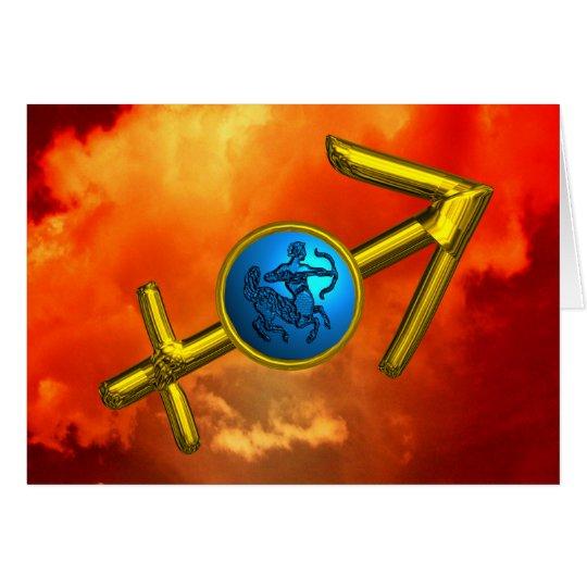 SAGITTARIUS Blue Turquoise,Gold Zodiac Birthday Card