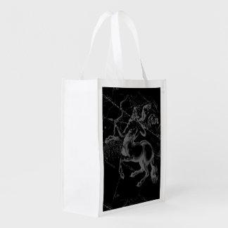 Sagittarius Constellation Map by Hevelius on Black Reusable Grocery Bag