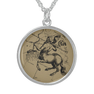 Sagittarius Constellation Map by Hevelius Sterling Silver Necklace