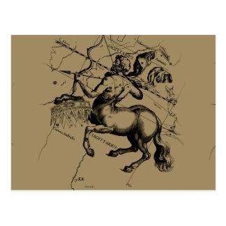 Sagittarius Constellation Map Engraving Hevelius Postcard