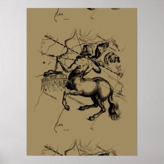 Sagittarius Constellation Map Engraving Hevelius Poster