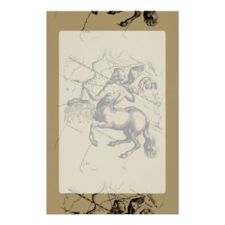 Sagittarius Constellation Map Engraving Hevelius Stationery
